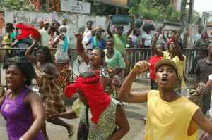 Accra residents protest forced evictions that will accompany the construction of a new railway line